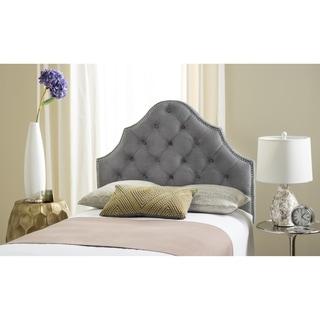 Safavieh Arebelle Pewter Velvet Upholstered Tufted Headboard - Silver Nailhead (Twin)
