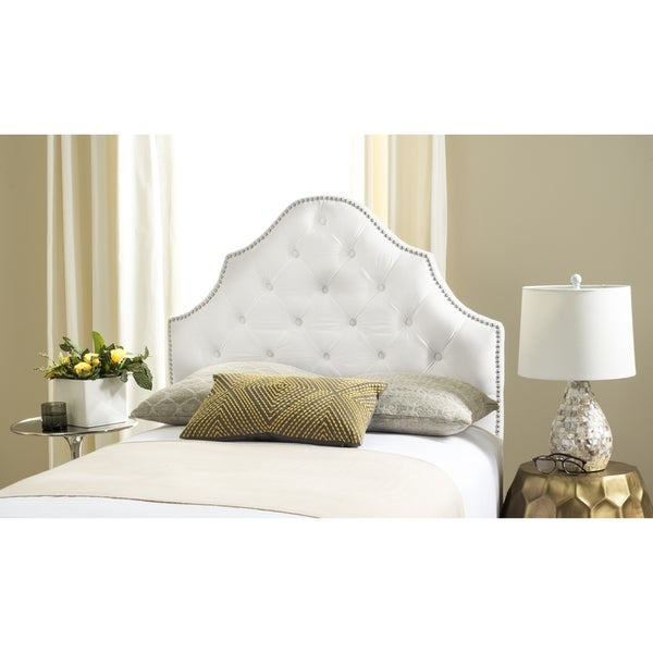 Safavieh Arebelle White Velvet Upholstered Tufted Headboard Silver Nailhead Twin