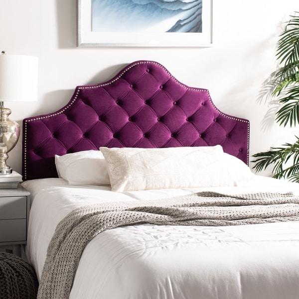 Shop Safavieh Arebelle Aubergine Velvet Upholstered Tufted