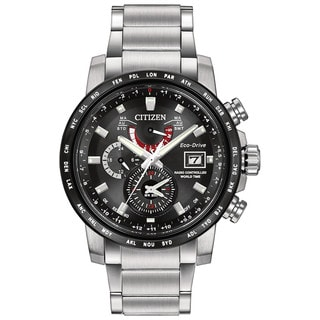 Citizen Men's AT9071-58E World Time AT Black Dial Silvertone Stainless Steel Watch