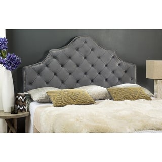 safavieh arebelle grey upholstered tufted headboard silver nailhead queen free shipping. Black Bedroom Furniture Sets. Home Design Ideas