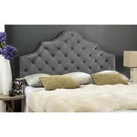 Safavieh Arebelle Pewter Velvet Upholstered Tufted Headboard - Silver Nailhead (Full)