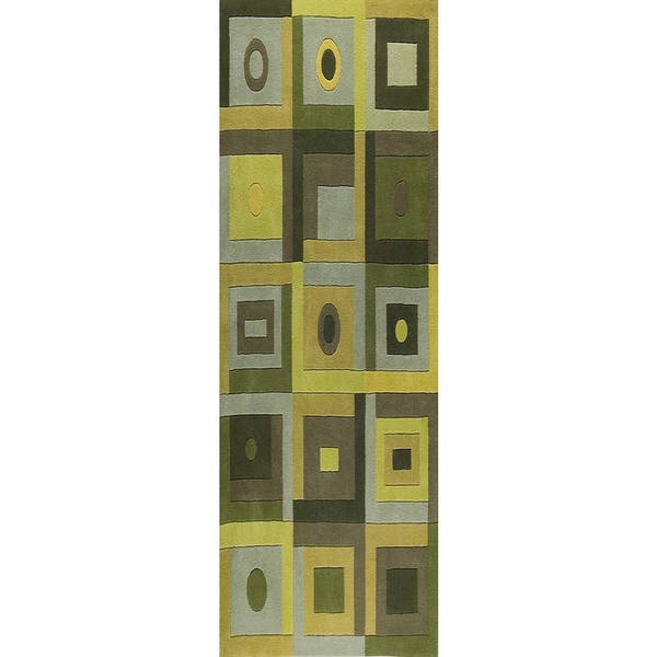 M.A. Trading Hand-tufted Indo Berlin Green Rug (2'8 x 7'10)