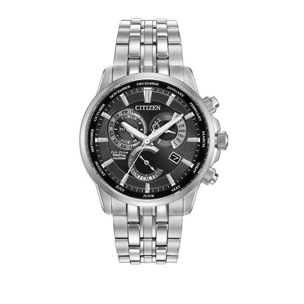 Citizen Men's Calibre 8700 Black Dial Silvertone Stainless Steel Watch
