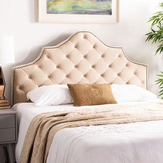 Safavieh Arebelle Buckwheat Velvet Upholstered Tufted Headboard - Brass Nailhead (Queen)