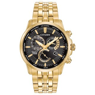 Citizen Men's Calibre 8700 Black Dial Goldtone Stainless Steel Watch