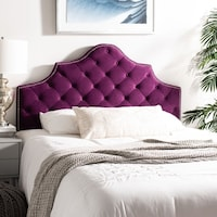 Safavieh Arebelle Aubergine Velvet Upholstered Tufted Headboard