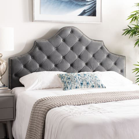 Safavieh Arebelle Pewter Velvet Upholstered Tufted Headboard - Silver Nailhead (Queen)