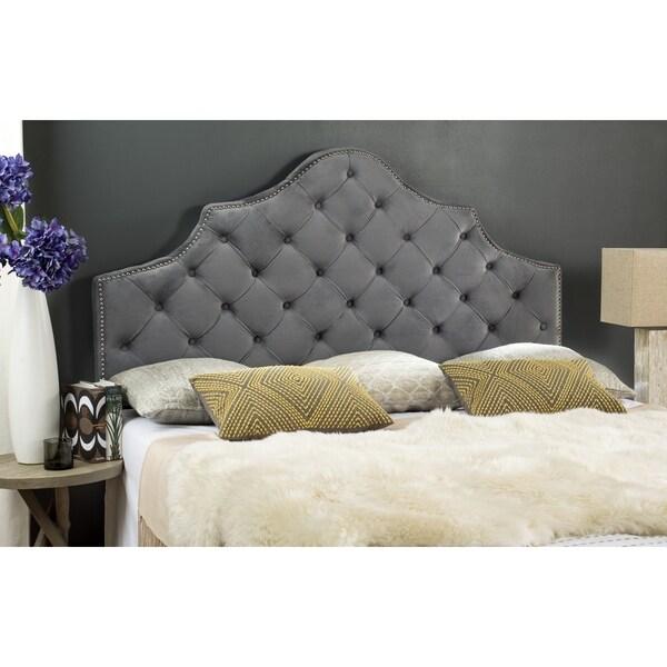 safavieh arebelle pewter velvet upholstered tufted headboard silver nailhead queen