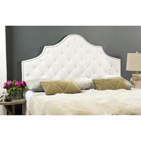 Safavieh Arebelle White Velvet Upholstered Tufted Headboard - Silver Nailhead (Queen)