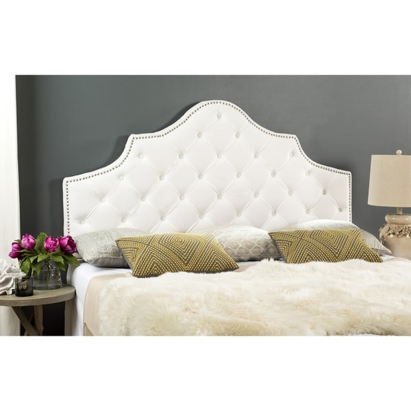 Safavieh Arebelle White Velvet Upholstered Tufted Headboard Silver Nailhead Queen