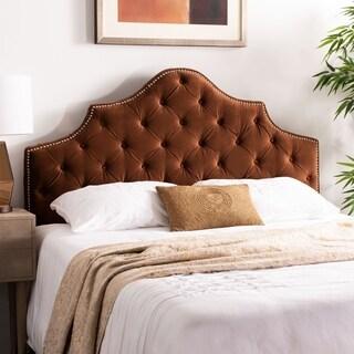 Safavieh Arebelle Chocolate Velvet Upholstered Tufted Headboard - Silver Nailhead (Queen)