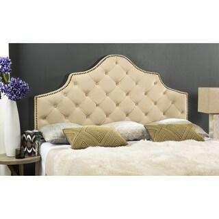 Safavieh Arebelle Buckwheat Velvet Upholstered Tufted Headboard - Brass Nailhead (King)
