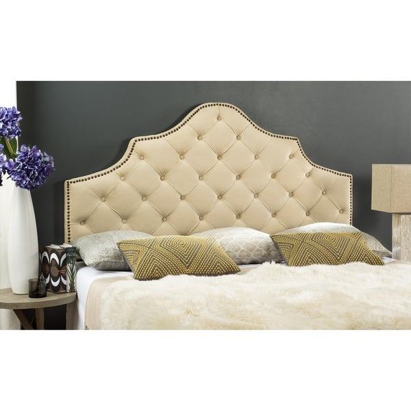 Safavieh Arebelle Buckwheat Velvet Upholstered Tufted Headboard - Brass Nailhead (King). Opens flyout.