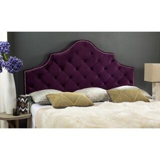 Safavieh Arebelle Aubergine Velvet Upholstered Tufted Headboard - Silver Nailhead (King)