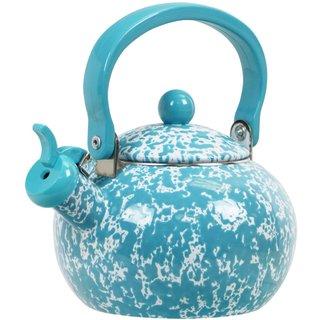 Reston Lloyd Calypso Basics Turquoise 2-quart Marble Whistling Teakettle