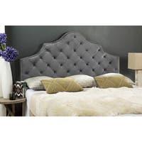 Safavieh Arebelle Pewter Velvet Upholstered Tufted Headboard - Silver Nailhead (King)