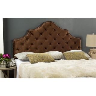 Safavieh Arebelle Chocolate Velvet Upholstered Tufted Headboard - Silver Nailhead (King)