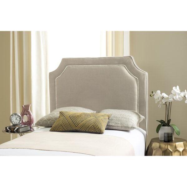 Shop Safavieh Dane Grey / White Piping Upholstered Headboard (Twin ...