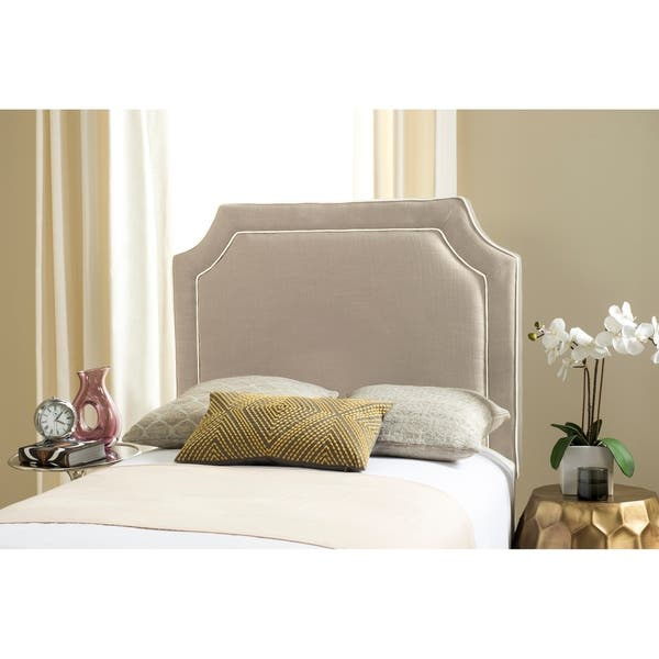 Safavieh Dane Grey / White Piping Upholstered Headboard (Twin)