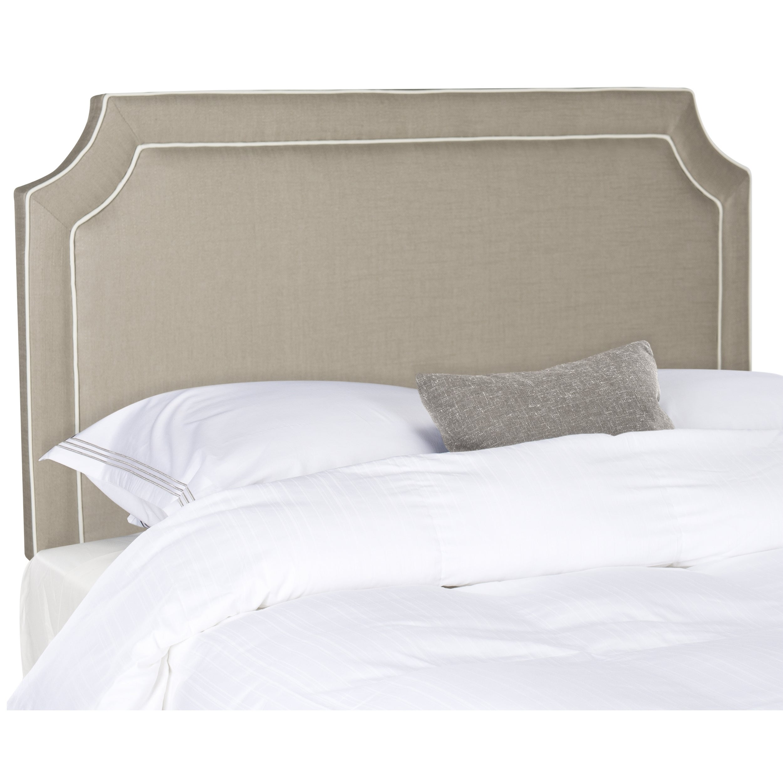 sale retailer 1b72c 6b9d2 Safavieh Dane Grey/ White Piping Upholstered Headboard (Queen)