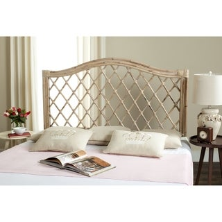 safavieh gabrielle white washed rattan wicker trellis headboard full - Wicker Bed Frame