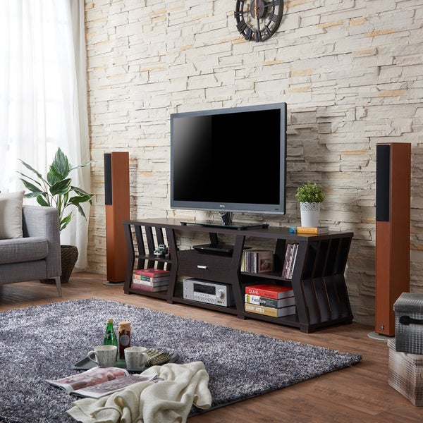 Furniture of america loxie modern espresso slatted tv stand