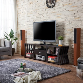 Furniture of America Loxie Modern Espresso Slatted TV Stand