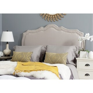 Safavieh Skyler Taupe Linen Upholstered Headboard - Silver Nailhead (Twin)