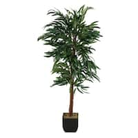 6-foot Weeping Ficus Tree in Metal Planter