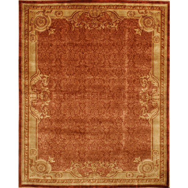Handmade Kashan French Design Motifs with Old Patina Rug