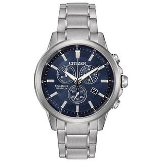 Citizen Men's AT2340-56L TI + IP Blue Dial Silvertone Titanium Watch