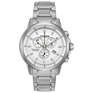 Citizen Men's AT2340-56A TI + IP Silvertone Titanium White Dial Watch