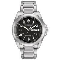 Citizen Men's  Sport Black Dial Silvertone Stainless Steel Watch