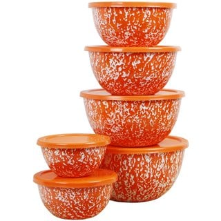 Reston Lloyd Calypso Basics Orange Marble 12-piece Enamel Bowl Set