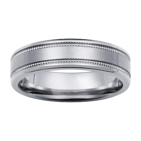 Boston Bay Diamonds Men's 6MM Comfort Fit Titanium Wedding Band Ring w/ Milgrain Detail