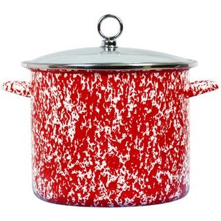 Reston Lloyd Calypso Basics Red 8-quart Marble Stock Pot with Glass Lid