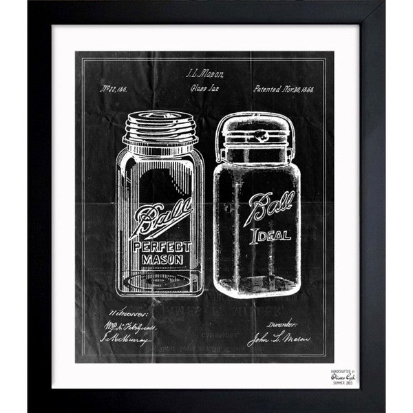 Oliver Gal 'Mason Jar 'Adapted 1853 - Noir' Framed Blueprint Art