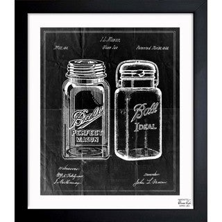 Mason Jar 'Adapted 1853 - Noir' Framed Blueprint Art
