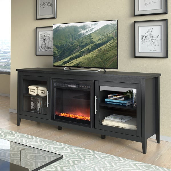 Shop Jackson Black Wood Grain Tv Stand And Fireplace 80 Inches