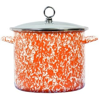 Reston Lloyd Calypso Basics Orange 8-quart Marble Stock Pot with Glass Lid