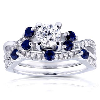 Annello by Kobelli 14k White Gold 1ct TCW Diamond and Blue Sapphire Bridal Set