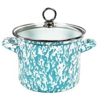 Reston Lloyd Calypso Basics Turquoise 1.5-quart Marble Stock Pot with Glass Lid