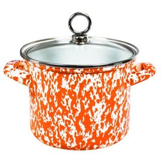 Reston Lloyd Calypso Basics Orange 1.5-quart Marble Stock Pot with Glass Lid