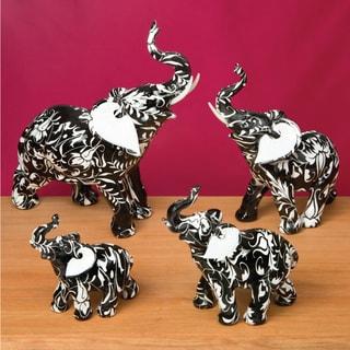 Elephant Figurine (Set of 4) -Black and White Flourish