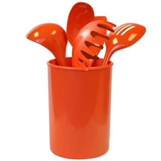 Reston Lloyd Calypso Basics Orange Utensil Holder and 5-piece tool Set