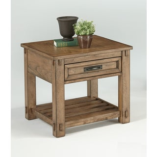 Boulder Creek Square Distressed Pecan Side Table