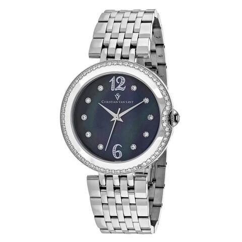 Christian Van Sant Women's Jasmine Round Silver-tone Stainless Steel Bracelet Watch