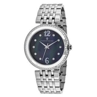 Christian Van Sant Women's CV1611 Jasmine Round Silver-tone Stainless Steel Bracelet Watch