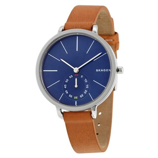 Skagen Women's Brown Leather Hagen Blue Dial Watch